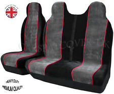 TOYOTA HIACE (83-12) MINIBUS LUXURY GREY WITH RED TRIM VAN SEAT COVERS