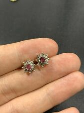 Vintage 9ct Gold Ruby And Diamond Earrings