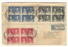 Jamaica: 1937; Cover with stamps  block of 4 coronation not good condition. JA25