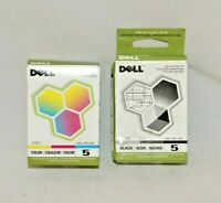 Genuine Dell Ink Cartridge Series 5 Black J5566 and Color J5567 Factory Sealed