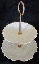 Présentoir serviteur gâteaux ancien coquilles Vintage Ceramic Cake Stand