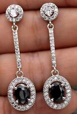 18K White Gold Filled- 1.8'' Oval Black Onyx Topaz Gemstone Party Drop Earrings