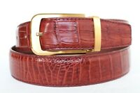 UnJointed - Red Brown Genuine Crocodile Belt Skin Leather Men's - W 1.3 inch