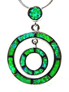 """Silver 925 SF Pendant Green Lab Fire Opal DOUBLE CIRCLE  1.25"""""""