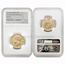 Italy 1813M Kingdom of Napoleon 40 Lire Gold NGC AU50