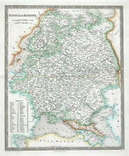 RUSSIA, POLAND, ESTONIA, LATVIA, LITHUANIA, Teesdale original antique map 1841