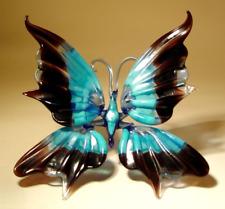 Blown Glass Art Figurine Blue and Black Stripe BUTTERFLY