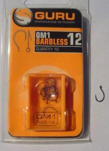 GURU QM1 HOOKS - BARBLESS EYED MATCH METHOD HOOKS SIZES 10 TO 18