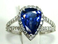 Tanzanite Ring Halo 18K White Gold Natural AAA+ GIA Insured Heirloom App. $7,786