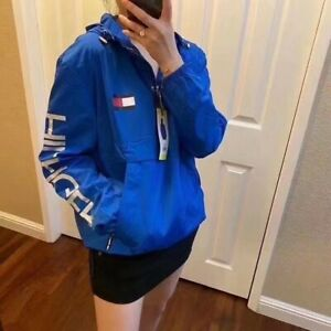 """""""NWT"""" Tommy Hilfiger Ladies 1/4 Zip Windbreaker Hooded Pullover White /Red/Blue"""
