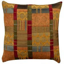 """XL Moroccan Patchwork Double Sided Cushion. 23"""" Square. Terracotta Oranges."""