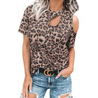 Womens Leopard Print Cold One Shoulder T-Shirt Blouse Short Sleeve Summer Tops