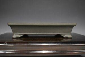 "Japanese Bonsai Pot Tokoname YAMAAKI 7.6""(19.4cm) Gray Rectangle Shallow H033"