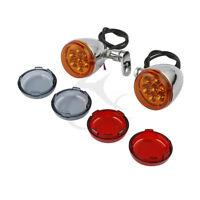 Chrome Turn Signal Light With Bracket For Harley XLH883 Hugger Dyna Fat Bob FXDF