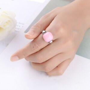 Amazing Round Pink White Black Opal White Gold Filled Men Women's Ring Size 6-10