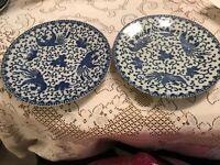 "Vintage 2 Phoniex Bird Blue Plate 7 1/2"" Made In Japan Stamped"