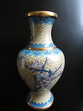 Cloisonne Enamel Chinese Vase Important Flowers Gold Trim Old Ming Dynasty ?