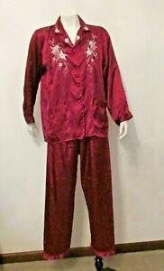 70's Asian 100% SILK 2pc Pajama set Burgundy Embroidered Jacket Long Pants M