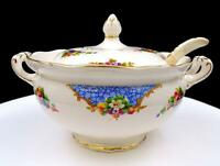"ENGLISH PORCELAIN FLORAL AND FRUIT MOTIF 8"" MINI TUREEN AND LADLE"