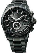 New Seiko Astron Solar GPS Dual-Time Black IP Titanium Men's Watch SSE049