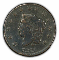 1825 1c Coronet Head Large Cent - VF+ Details - SKU-Y2351