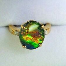 Lovely 9 Carat Gold Ammolite Ring Size I (small)