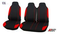 Vauxhall Vivaro Renault Trafic 2+1 Red Black Single & Double Fabric Seat Covers