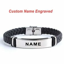 Personalized Stainless Steel Engrave Letter Name Leather Bracelets Bangle Men