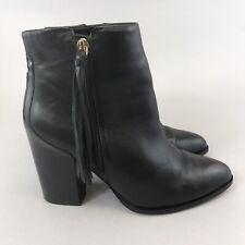 Mango Touch Size UK39 UK6 Black Leather Ankle Zip Up Fringe Heeled Booties Boots