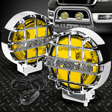 "6""ROUND CHROME HOUSING YELLOW FOG LIGHT/OFFROAD SUPER 4X4 GUARD WORK LAMP+SWITCH"