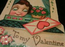 Vtg Big Eyed Girl Valentines 2 Cards Stand Up Die Cut Germany Peeking out window
