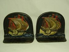 Antique 1925 ORIGINAL PAINT Cast Iron Copper Plated Bookends Snead Galleon Ship