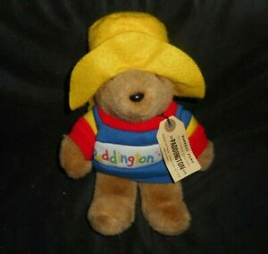 "8"" VINTAGE 1988 PADDINGTON TEDDY BEAR STUFFED ANIMAL PLUSH TOY W/ SHIRT & TAG"