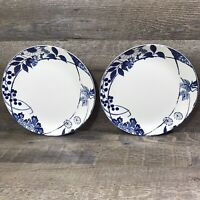 Mikasa HANA BLUE Porcelain Dinner Plate White Blue Floral Berry Leaves Set of 2