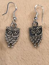 Cute New Sterling Silver Ear Wire / Tibetan Small Owl Charm Dangle Drop Earrings