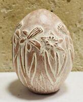 Isabel Bloom Pink Flower Retire Egg Spring Folk Art Cement Sculpture Signed 1986
