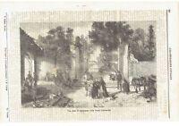 1871 Illustrazione Popolare: Veduta Casa di campagna nella Bassa Lombardia