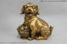 China Copper Bronze Feng shui Wealth treasure bowl Zodiac Dog Decor Statue