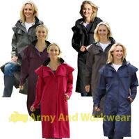 Ladies Long Full Length Showerproof Riding Rain Jacket Country Coat with Cape