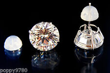 New 14K  Real White Gold 8mm Round Cubic Zirconia CZ Piercing Stud Earrings