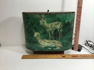 Vintage Mid Century Working Helmscene Lighted FAWNS Picture TV Lamp.
