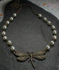 Collar de Inspiración Vintage Bronce Libélula Antiguo Color Marfil Perla Perlas De Vidrio