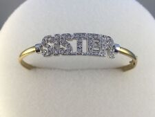 9ct Gold Cubic Zirconia Ladies SISTER Bangle  3mm Width  6.7gms NEW