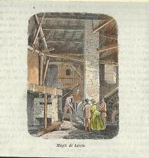 Stampa antica LECCO MAGLI operaio al lavoro in officina 1859 Old antique print