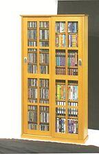 leslie dame mission multimedia dvdcd storage cabinet wsliding glass doors oak - Cd Storage Cabinet