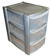 NEW Storage Drawer Tower 3 Drawers Silver/Clear Plastic
