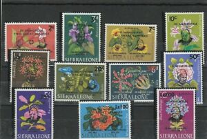 SIERRA LEONE 1965 SURCHARGED  FLOWERS  SET  MNH VF