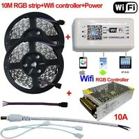 5-10M 5050 RGB LED Strip Light + Wifi Controller By iPhone Android APP + Power