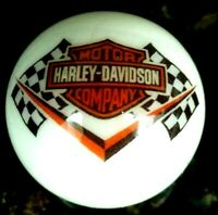 Rare Harley Davidson Racing Flags Orange Bar & Shield On 1 Inch White Marble New