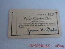 Vintage Valley Country Club Membership Card Payette Idaho 1930s Golf